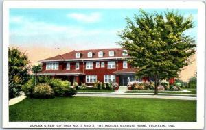Franklin, Ind. Postcard Duplex Girls' Cottage INDIANA MASONIC HOME Kropp 1940s