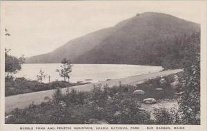 Maine Bar Harbor Bubble Pond And Pemetic Mountain Acadia National Park Albertype