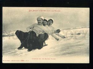 213551 FRANCE toboggan sledge SPORT Vintage postcard