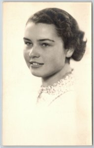 RPPC Closeup Portrait~Lovely Lady w/Engaging Smile, Hair in Bun~Senior Picture?