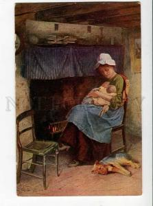 264621 Mother Joy BABY & TERRIER by Carlton G. SMITH old SALON