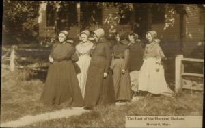 Harvard MA Shaker Women c1920 Real Photo Postcard