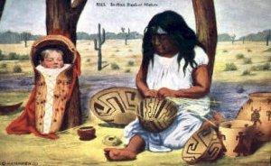 Indian Basket Maker, Indians Postcard Postcards Unused