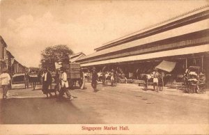 Singapore Malaya Market Hall Street Scene Rickshaw Postcard JI658448