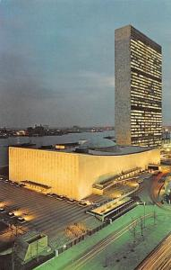 USA United Nations at Night East River New York