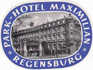 GERMANY REGENSBURG PARK HOTEL MAXIMILIAN VINTAGE LUGGAGE LABEL