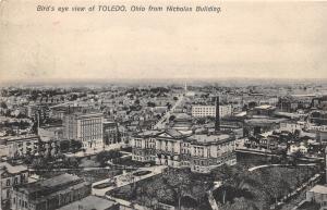 Toledo Ohio Bird's Eye View (from Nicholas Building)~1908 B&W Postcard