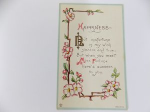 Greeting Postcard Happiness 1916 Embossed James E. Pitts antique