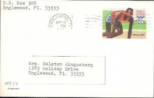 US Used Pre-stamped Postcard UX80 Olympics Runner