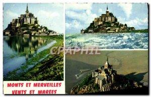 Modern Postcard Mont Saint Michel Vue Generale L & # 39Arrivee Cote Sud A Mar...
