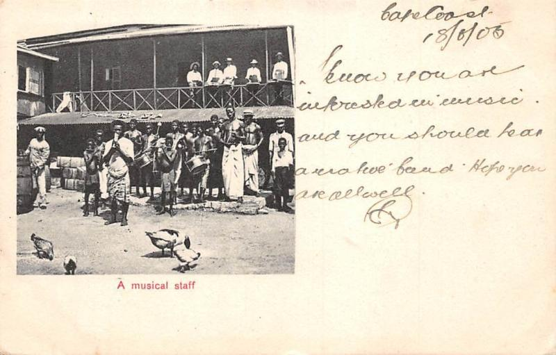 Ghana Gold Coast Cape Coast A musical staff 1905 postcard