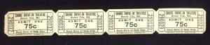 4 Vintage Shore Drive-In Theatre .75¢ Tickets, Ocean City, Maryland/MD, 1960's?