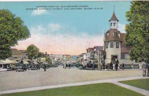 Looking East On Old Orchard Street Showing Catholic Church Old Orchard Maine