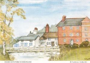 Hadley House Artiist View Sketch Herts Hertfordshire Womens Institute Postcard