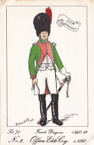 French Dragoon Officer Soldier Napoleonic War Uniform PB Rare Postcard
