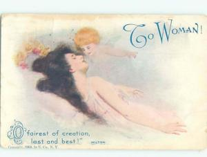 Divided-Back PRETTY WOMAN Risque Interest Postcard AA7910