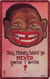 G4/ Black Americana Postcard Comic c1910 Gwine t' Write Smile Teeth 12