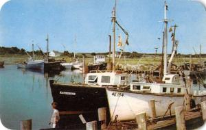 Cape Cod harbor Massachusetts Rock Harbor & Orleans boats vintage pc ZA440340