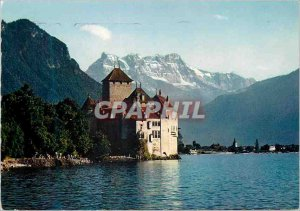 Modern Postcard Lac Leman Chateau de Chillon and the Dents du Midi Montreux S...