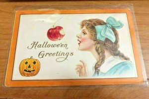 C1915 Halloween Postcard - Swinging Apple Game