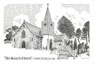Art Sketch Postcard All Saints Church Newchurch Isle of Wight by Don Vincent AS1