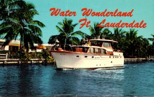 Florida Fort Lauderdale Canal Scene With Yacht 1966