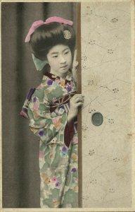 japan, Sweet Geisha Girl in Green Kimono peeks around the Door (1910s) Postcard