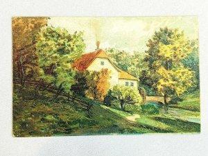 Vintage Postcard Scene of Home w/ Water Mill along Creek Painting Embossed 1910