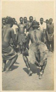 Belgian Congo real photo native dance dancers