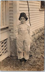 1910s RPPC Real Photo Postcard Girl in Overalls. Hands in Pockets Great Image!