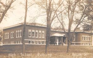 Paton Iowa~Four Men Standing Outside High School~Postcard RPPC 1912