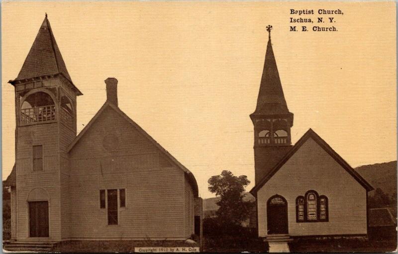 Ischua New York~Baptist & United Methodist Episcopal ME Church~c1910 Sepia