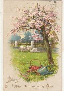 Garden with flowered tree. Lambs  Nice Tuck Birthday Series PC # 1027
