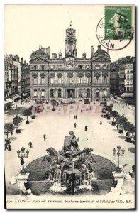 Postcard Old Lyon Terreaux Square and Bartholdi Fountain City Hotel