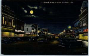 Gadsden, Alabama Postcard Broad Street at Night Downtown Scene Linen 1948