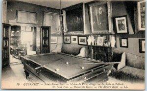 GUERNSEY Channel Islands Postcard Maison de Victor Hugo Pool Table c1910s Unused