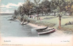 Rockford Illinois~Love's Park~Couples on Rock River Bank~Boats~1908 Postcard