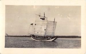 Sail Boat River Ship Real Photo Antique Postcard K30945