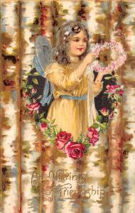 ET Andrews Girl Pokes Thru Birch Bark Back~Rose Heart~Flower Crown~Embossed~1908