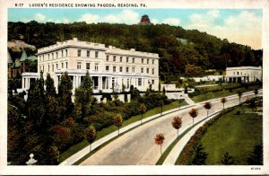 Pennsylvania Reading Luden's Residence Showing Pagoda Curteich