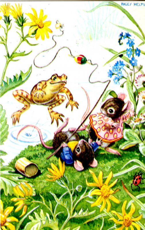 The Astonished Angler  Artist: Racey Helps  (Mice, Frog)
