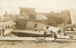 Tyler Minnesota~Post Office Corner After Tornado~Real Photo Postcard 1918