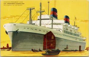 SS President Cleveland Ship Steamer California To Orient Unused Postcard F4