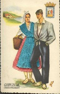 pc13698 postcard Spain Embroidered Dress Guipuzcoa not used