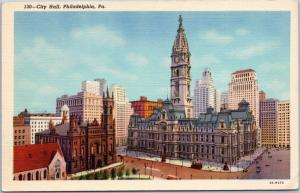 Philadelphia City Hall Linen postcard Curt Teich
