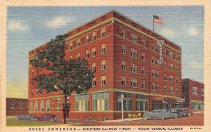 Mount Vernon Illinois~Hotel Emmerson Southern Illinois Finest~1940 Postcard