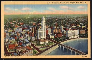 Ohio COLUMBUS State Capitol from Air Business Section and Civic Center - LINEN