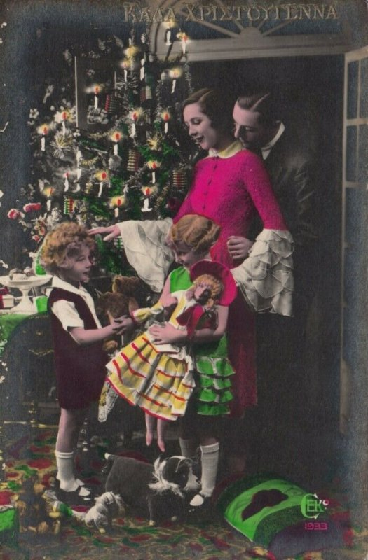 RP : CHRISTMAS, 1900-10s ; Family by decorated tree, Doll