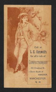 VICTORIAN TRADE CARD Carswell's Confectionary Girl & Flowers