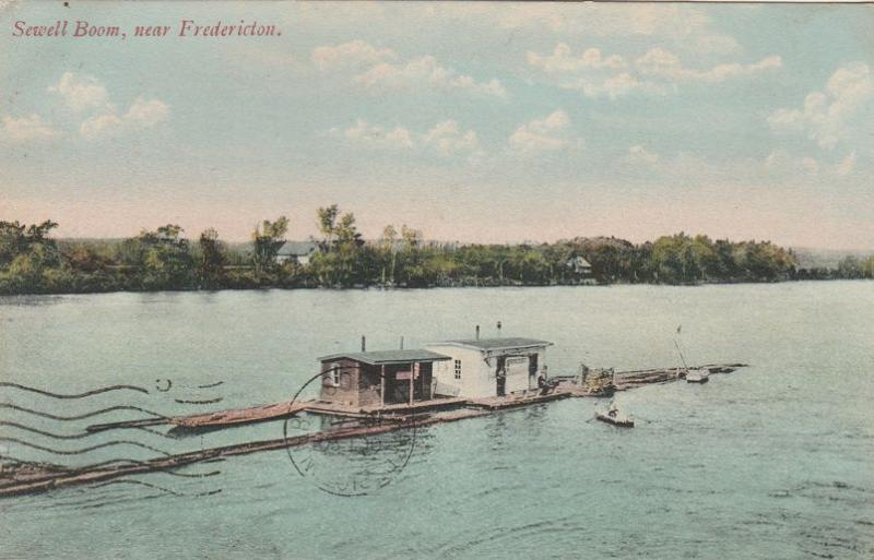 Sewell Boom on Saint John River near Fredericton NB New Brunswick Canada pm 1908